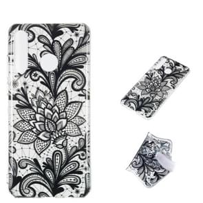 Black Flower Pattern Highly Transparent TPU Protective Case for Huawei P30 Lite