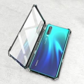Ultra Slim Magnetic Tempered Glass Magnet Flip Case for Huawei P30 (Black)