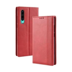 Magnetic Buckle Retro Crazy Horse Texture Horizontal Flip Leather Case for Huawei P30, with Holder & Card Slots & Photo Frame(Red)