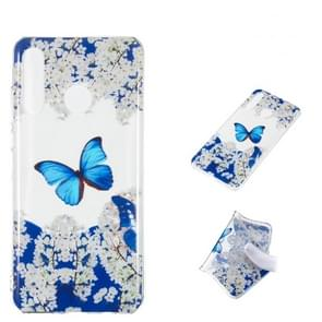 Blue Butterfly Pattern Highly Transparent TPU Protective Case for Huawei P30 Lite