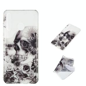 Black Flower Skull Pattern Highly Transparent TPU Protective Case for Huawei P30 Lite