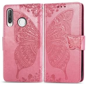 Butterfly Love Flowers Embossing Horizontal Flip Leather Case for Huawei P30 Lite / Nova 4e, with Holder & Card Slots & Wallet & Lanyard (Pink)
