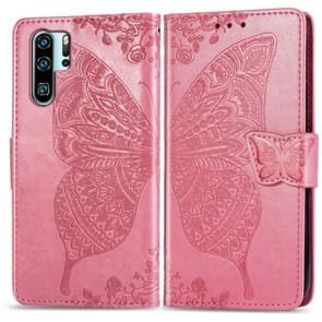 Butterfly Love Flowers Embossing Horizontal Flip Leather Case for Huawei P30 Pro, with Holder & Card Slots & Wallet & Lanyard (Pink)