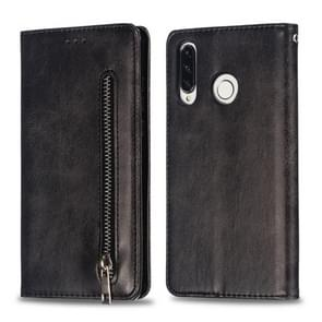 Calf Texture Zipper Magnetic Horizontal Flip Leather Case for Huawei P30 Lite, with Wallet & Holder & Card Slots (Black)