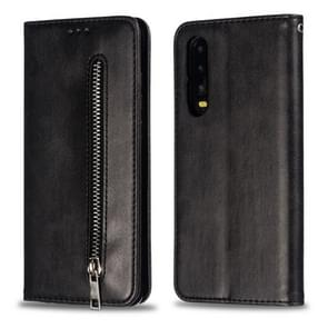 Calf Texture Zipper Magnetic Horizontal Flip Leather Case for Huawei P30, with Wallet & Holder & Card Slots (Black)