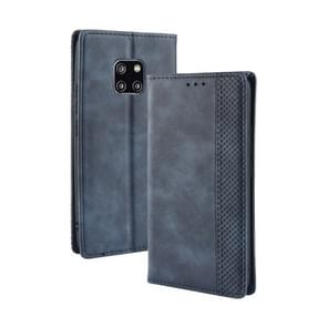 Magnetic Buckle Retro Texture Horizontal Flip Leather Case for Huawei Mate 20 Pro, with Holder & Card Slots & Wallet (Blue)