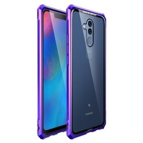 Snap-on Aluminum Frame and Tempered Glass Back Plate Case for Huawei Mate 20 Lite(Purple Blue)