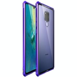 Snap-on Aluminum Frame and Tempered Glass Back Plate Case for Huawei Mate 20 X(Purple Blue)