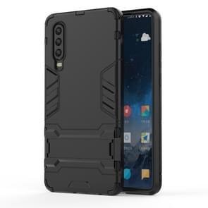 Schokbestendige PC + TPU geval voor Huawei P30  met houder (zwart)