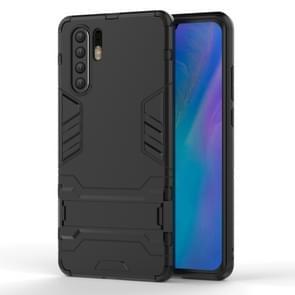 Schokbestendige PC + TPU geval voor Huawei P30 Pro  met houder (zwart)