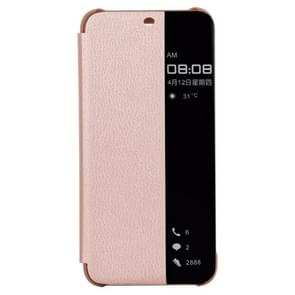 Litchi Texture Smart Horizontal Flip Leather Case for Huawei Mate 20 Lite, With Call Display ID (Rose Gold)