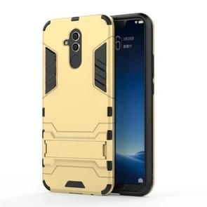 Schokbestendige PC + TPU Case voor Huawei Mate 20 Lite  met Holder(Gold)