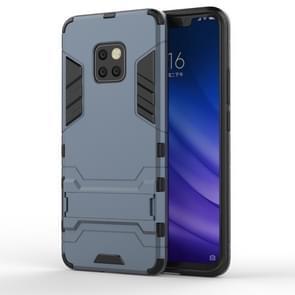 Schokbestendige PC + TPU Case voor Huawei mate 20 Pro  met houder (marineblauw)