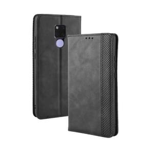 Magnetic Buckle Retro Texture Horizontal Flip Leather Case for Huawei Mate 20, with Holder & Card Slots & Wallet (Black)