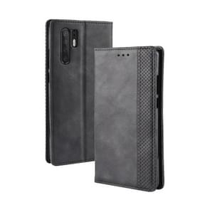 Magnetic Buckle Retro Texture Horizontal Flip Leather Case for Huawei P30 Pro, with Holder & Card Slots & Wallet (Black)