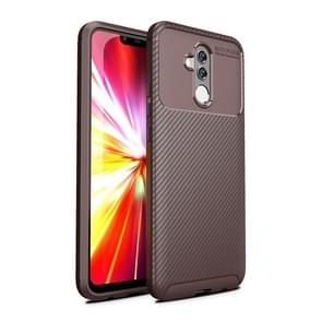 Beetle Shape Carbon Fiber Texture Shockproof TPU Case for Huawei Mate 20 Lite(Brown)