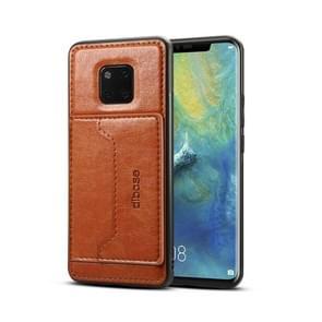Dibase TPU + PC + PU Crazy Horse textuur beschermende case voor Huawei mate 20 Pro  met houder & kaartsleuven (bruin)