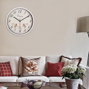 Home Office Silent Non Ticking Rose Pattern 12 inch Round Wall Quartz Clock (White)