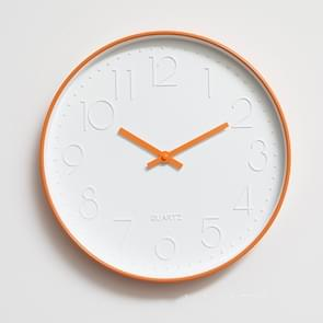 Home Office Room Modern Silent Non Ticking 12 inch Round Decorative Wall Quartz Clock(Orange)
