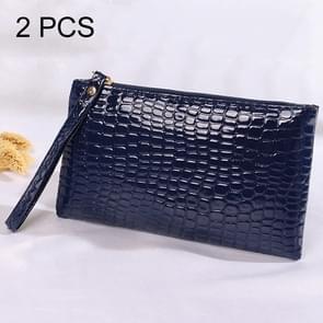 2 PCS Fashion Crocodile Texture Handbag, Size: 20*12cm(Dark Blue)