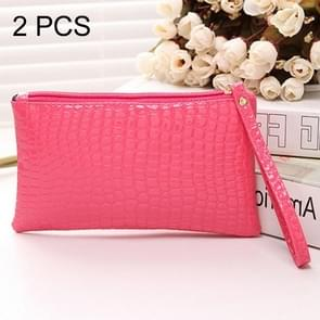 2 PCS Fashion Crocodile Texture Handbag, Size: 20*12cm(Magenta)