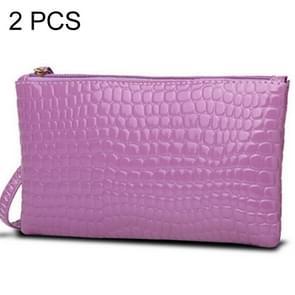 2 PCS Fashion Crocodile Texture Handbag, Size: 20*12cm(Purple)