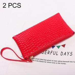 2 PCS Fashion Crocodile Texture Handbag, Size: 20*12cm(Red)