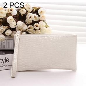 2 PCS Fashion Crocodile Texture Handbag, Size: 20*12cm(White)