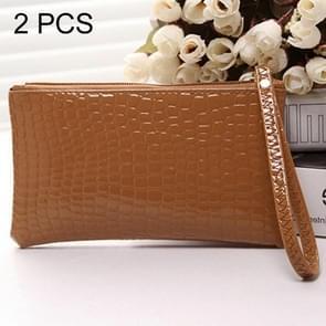 2 PCS Fashion Crocodile Texture Handbag, Size: 20*12cm(Brown)