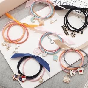 10 PCS Cute Pendants Style Elastic Rubber Hair Band Ring Random Kleur Delivery