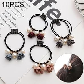 10 PCS Pearl Bloemen Style Elastic Rubber Hair Band Ring Random Kleur Delivery