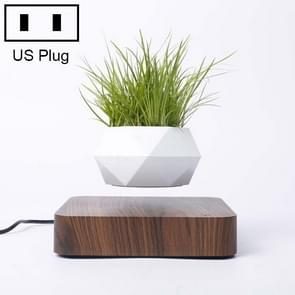 Diamond Plastic Flower Pot + Dark Wood Grain Base Magnetic Levitation Potted Plant Home Decoration, US Plug