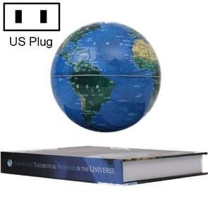 6 inch Bilingual Dark Blue Colored Light Magnetic Levitation Globe + Book Shape Base Office Crafts Ornaments, US Plug