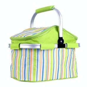 20L Green Stripe Cloth Outdoor Beach Picnic Storage Basket, Insulated Basket