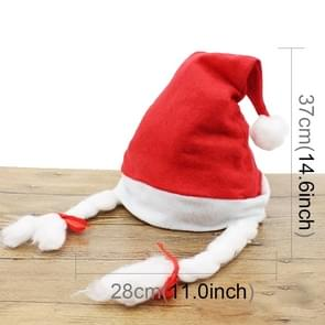 10 PCS Christmas Decoration Napped Fabric Santa Hat Pigtails Pattern Children Dressing Up Christmas Hat, Random Pattern Delivery