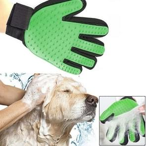 Left Hand Five Finger Deshedding Brush Glove Pet Gentle Efficient Massage Grooming(Green)