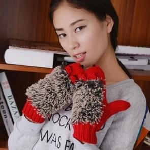 Winter Lovely Cartoon muis breien Lady wanten Warm Cartoon Hedgepig Full Finger Gloves(Red)