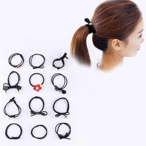 12 PCS/Boxed Simple Creative Lady Pearl Strik Style Hair Band (zwart)