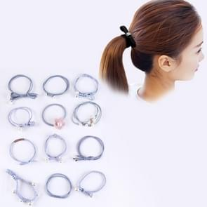 12 PCS/Boxed Simple Creative Lady Pearl Strik Style Hair Band (Baby blauw)