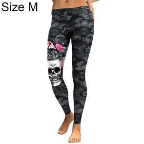 Halloween Costumes Cranio Head Digital Print Low Waist Ladies Leggings Tights Size: M