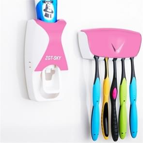 Automatic Toothpaste Dispenser Set with 5 Toothbrush Holder (Pink)