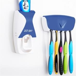Automatic Toothpaste Dispenser Set with 5 Toothbrush Holder (Blue)