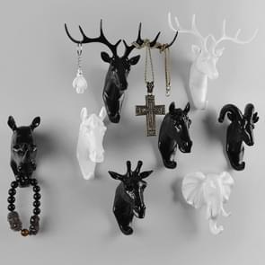 6 pc's creatieve driedimensionale multifunctionele herten hoofd dierlijke decoratieve haak jas haak Retro kleren opknoping Creative Home ambachten  willekeurige stijl-levering