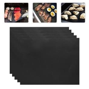 5 PCS 0.2mm Thick Barbecue Grill Mat Non-Stick BBQ Grill Mats  Afmeting:40*33CM(zwart)