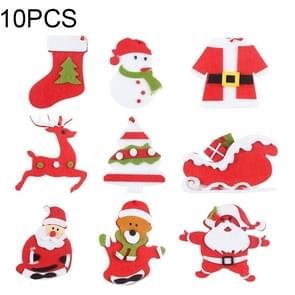 10 stuks kerst rood vlies kleine hanger kerstboom opknoping decoraties  willekeurige stijl-levering
