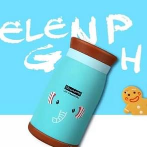 Long Time Heat Retention Thermos Vacuum Insulated Cartoon Style Youthful Stainless Steel Beverage Bottle(Blue 500 ml)