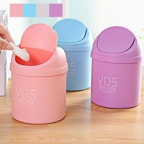Creative Mini Desktop Trash Cans Household Office Clean Desk Garbage Plastic Bucket with Lid, Random Color Delivery, Size: 19.5x14cm