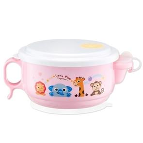 450ml Stainless Steel Interior And Plastic Exterior Double Layer Cartoon Style Bowl With Cover And Handles For Child At Age 2 To 9(Pink)