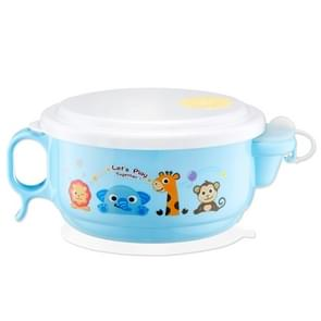 450ml Stainless Steel Interior And Plastic Exterior Double Layer Cartoon Style Bowl With Cover And Handles For Child At Age 2 To 9(Blue)