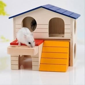 Huisdier dubbele laag kamer houten kleine dierlijke Hamster Squirrel huis kooi Nest slapen